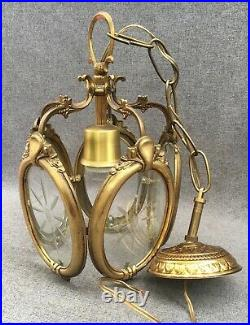 Antique french lantern chandelier light early 1900's bronze rare piece 3lb