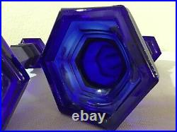 Antique pair Cobalt Blue glass candle holders sandwich eapg early American rare