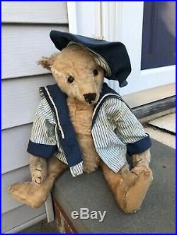 Archie RARE and Well Loved Early Antique 5 Claw Apricot Steiff Bear