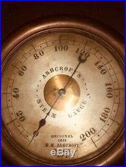 Ashcroft's Steam Gauge, 1851, Model1, Serial#37, Barn Fresh, Early, Rare, Brass, U Clean