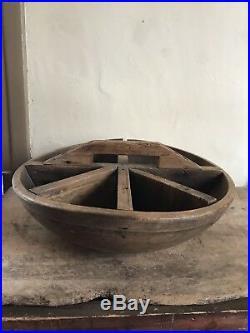 BIG RARE Early Antique Wooden Treen Dough Bowl Make Do Divided Sorting AAFA