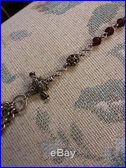 Big Rare Early 1800s Antique German Bavarian Sterling 800 Silver Garnet Rosary