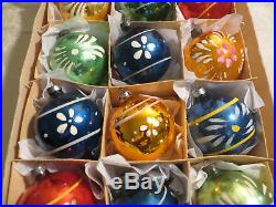 Box 12 RARE BOLD Antique Vtg early CORNING Glass Xmas Ornaments Paint