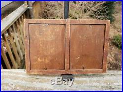 C1830 RARE Early American Mahogany Veneer Double Silhouette Miniature Folk Frame