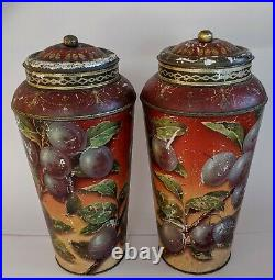 EARLY Antique ENGLISH TEA TINS TOLE CANNISTERS RARE sold ea. 2 available