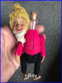 EARLY RARE ANTIQUE MINIATURE 5 MOHAIR & Felt SCHUCO Perfume Elf Gnome NICE NR