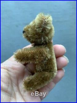 EARLY RARE ANTIQUE TINY MINIATURE 3.5 Cinnamon Brown MOHAIR SCHUCO PERFUME BEAR