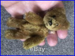 EARLY RARE ANTIQUE TINY MINIATURE 3.5 MOHAIR Cinnamon SCHUCO PERFUME BEAR