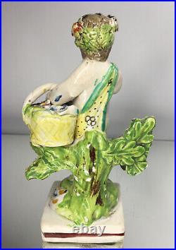 EARLY & RARE Antique 1820's Staffordshire Pearlware Cherub with Flora & Basket