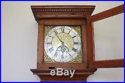 EARLY RARE SOMERSET BRASS DIAL PINE LONGCASE CLOCK J BAND, BRIDGWATER c1760