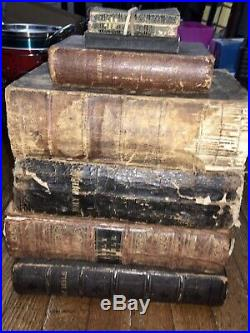 Early 1800s Lot Of (7)Rare Antique Holy Bibles