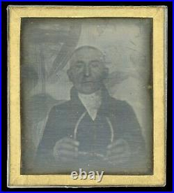 Early 1840 Daguerreotype Old Man Holding Glasses! Paper Mat! Rare 6th Plate