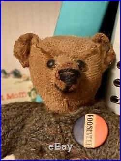 Early 1910 Chocolate Steiff Bear Long FF Shoe Button Eyes Sweater Rare