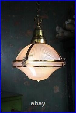 Early 20th C Rare Pair Violet Tinted Holophane Gilt Copper Caged Pendants Lights