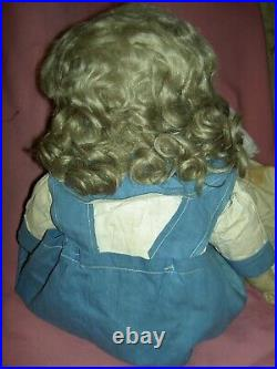 Early Alabama Ella Smith oil painted cloth doll RARE bare feet, wigged some TLC