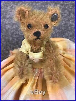 Early Antique 1909 Steiff Bear (miniature) FF Button RARE & ADORABLE Bead Eyes