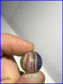 Early Antique 5/8 German Amazing Multi Color Onion Skin Lutz Marble Rare NM+