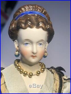 Early Antique 8 German Parian Dark Hair Parian Doll All Original Rare Hairdo NM