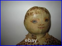 Early Antique American 19 Cloth Doll Oil Painted Face Oil Cloth Americana Rare