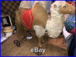 Early Antique German Steiff Mohair Felt 12 Camel on Wheels Rare