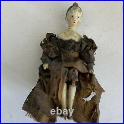 Early Antique Grodnertal Miniature Tuck Comb Peg Doll 3 Rare 1830s