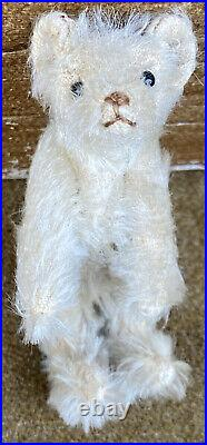 Early Antique Miniature Steiff 1909 Jointed 3 1/2White Bear Early Rare Example