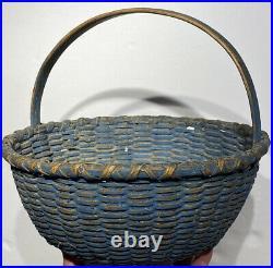 Early Antique Primitive Basket 10 Diameter Original Blue Paint Fantastic Rare