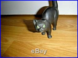 Early Antique Wedgwood Black Basalt Green Eyes Cat Ernest Light c. 1915 RARE
