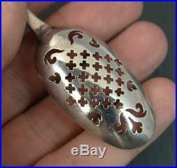 Early Georgian Period Rare Solid Silver Mote Spoon c1760