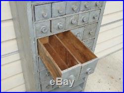 Early Old Gray Paint Rare Apothecary Chest Standing Cupboard With Shelves
