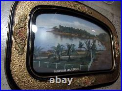 Early Original Rare Antique Domed Glass Framed Print Of Darwin Harbour Art Deco