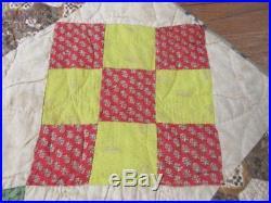 Early Quaker c 1830-40s Patch QUILT Antique Rare CHINTZ Tumbling Block Honeycomb