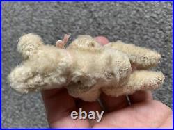 Early Rare Antique 3.5 Steiff Miniature Mini Mohair Teddy Bear White Ff Button