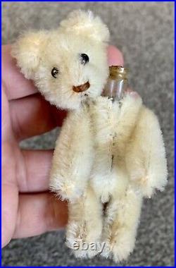 Early Rare Antique Miniature 3 White Mohair Schuco Perfume Bear Nice