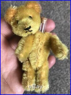 Early Rare Antique Tiny Miniature 3.5 Mohair Gold Schuco Perfume Bear