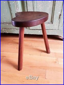 Early Rare Original Carved Oak Robert Thompson Mouseman Kidney Tri-leg Stool
