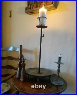 Early Rare Primitive Hearth Pricket Candlestand Circa 1700 large 2ft rushlight