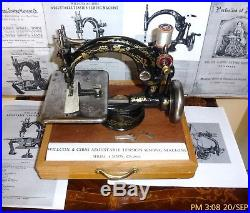 Early Rare Willcox & Gibbs Adjustable tension crank antique sewing machine, 1870
