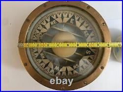 Early Vintage Rare E. S. Ritchie nautical ship Compass 31420 Solid Brass 9 1/4