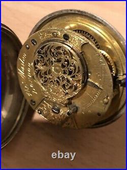 Early rare Verge Fusee Silver Pocket Watch Thomas Maston, London