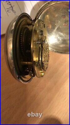 Early rare Verge Fusee Silver Pocket Watch Thomas Maston, London + Rare 1733