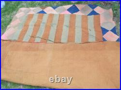 Extremely RARE, UNIQUE EARLY AMERICAN ANTIQUE LINSEY WOOLSEY PATCHWORK QUILT