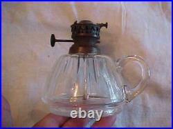 FABULOUS Early Cut Glass Finger Lamp RARE Wright & Butler Burner EXCELLENT