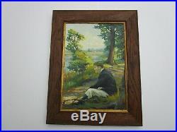 Finest Edna Cook Painting Antique Art Deco Portrait Early California Rare Mod