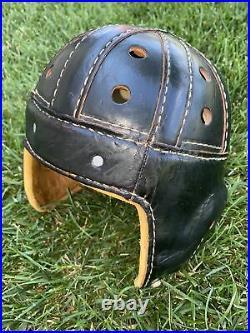 KILLER Early Old Antique 1930s VINTAGE 8 Spoke ALL Leather Football Helmet RARE