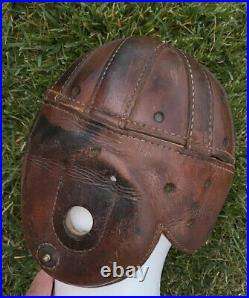 KILLER Early Old Antique 1930s VINTAGE Brown ALL Leather Football Helmet RARE