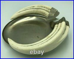LARGE Vintage Early Antique boar tusk Boars Tooth Cigar RARE Ashtray