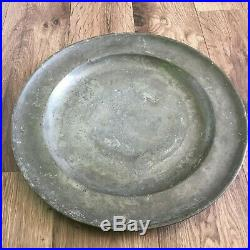 Large CHARGER Antique c1730 rare pewter Georgian 18th British early London touch