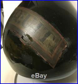 Lg Rare Early Apothecary Pearshape Bulbous Dark Glass Bottle Globe Painted Label