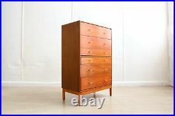 Mid Century Tall Stag Six Chest of Drawers Teak, Rare Early John and Sylvia Reid